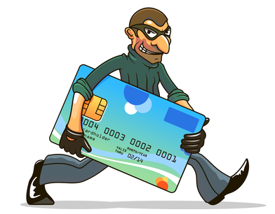 Hacker or thief stealing credit card for internet security and banking concept design